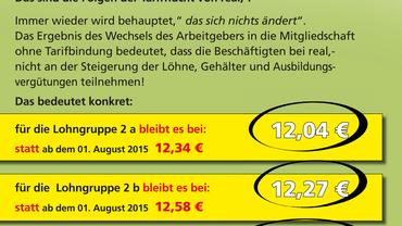 ver.di-Information für die Beschäftigten bei real,- (August 2015)